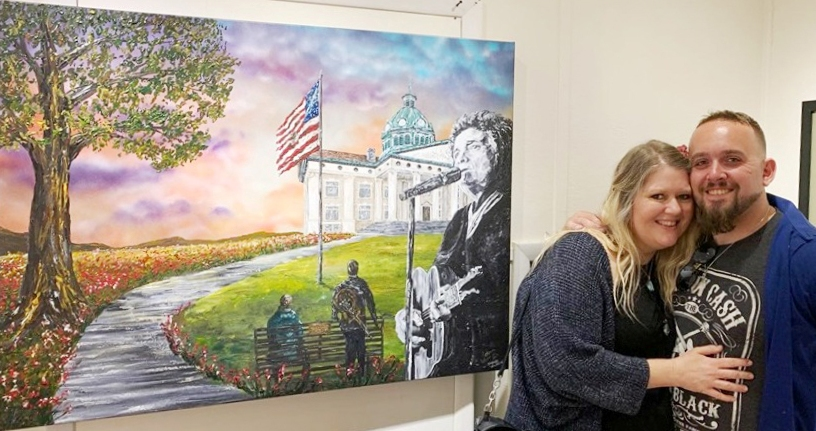 Stiletto's Fine Arts Studio  tribute to Johnny Cash's Ragged Old Flag