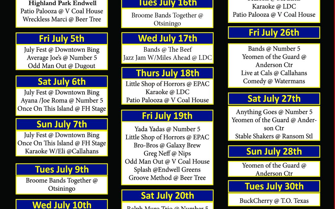 Live Entertainment for July 2019
